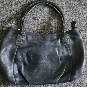 Prada embossed stachel black leather bag